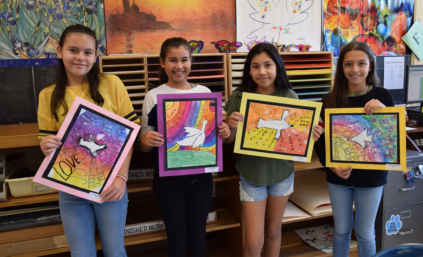 Students Spread Kindness With Peace Dove Paintings photo