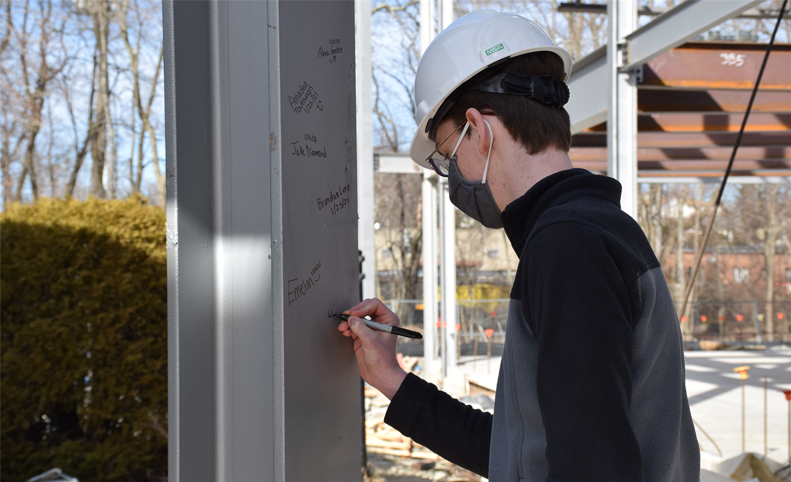Students, Faculty Sign Steel Beams Used in Construction of Science Center photo
